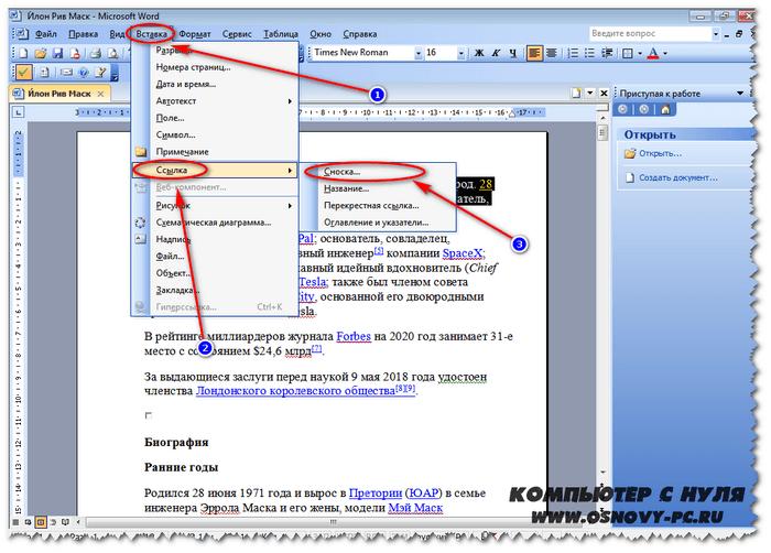 Как сделать выноску на 2003 версии офиса.