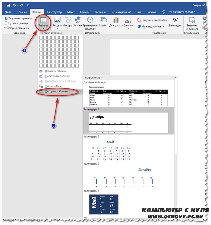 Экспресс-таблицы