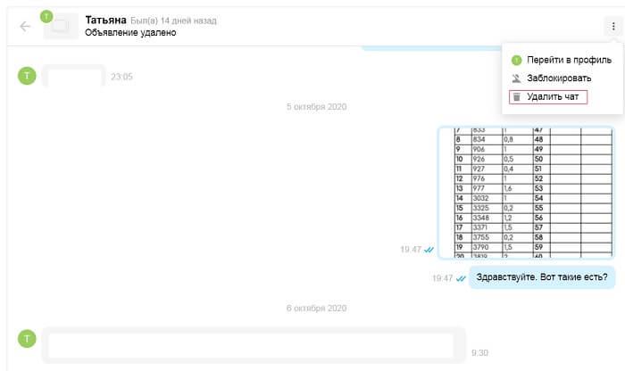 Как удалить сообщение на авито