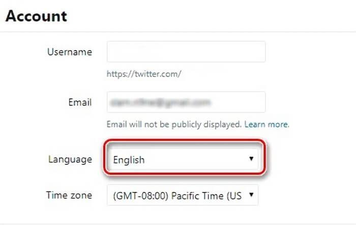 как в Твиттере изменяется язык интерфейса